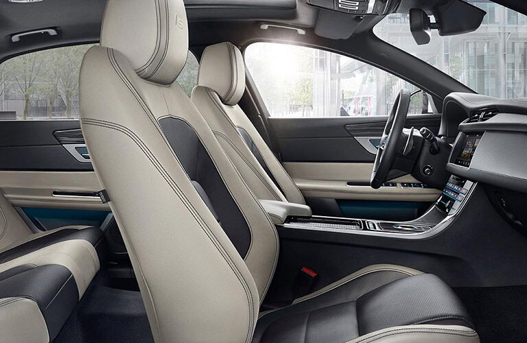 Tan and Black 2017 Jaguar XF Front Seats