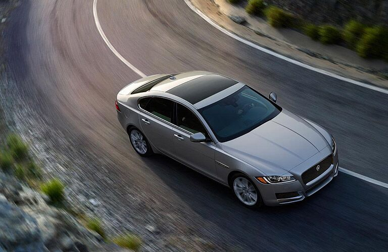Overhead View of Gray 2017 jaguar XF on Highway