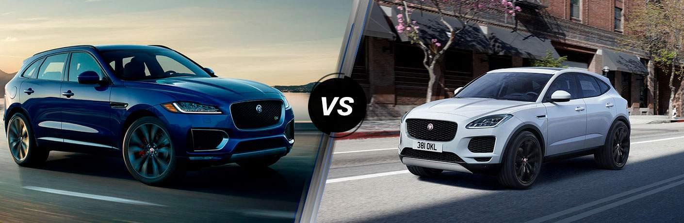 White 2018 Jaguar F-PACE on Coast Road vs White 2018 Jaguar E-PACE on City Street