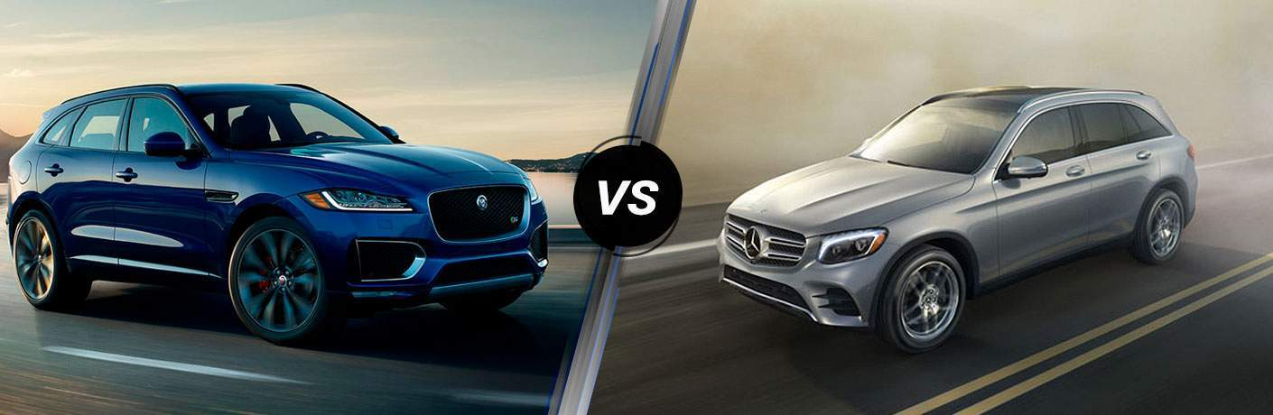 Blue 2018 Jaguar F-PACE on highway side by side with Silver 2018 Mercedes-Benz GLC on Road