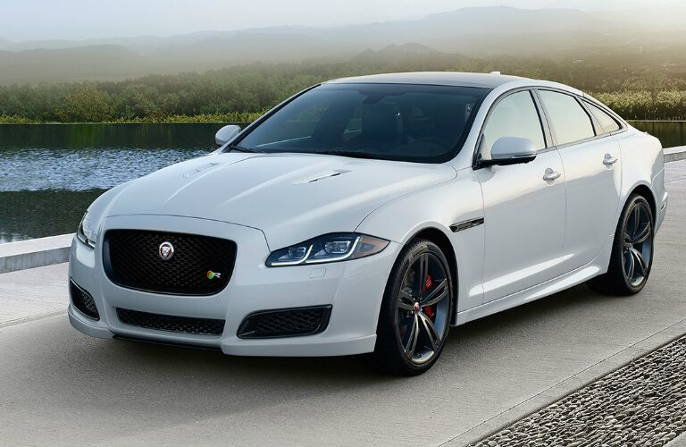 White 2017 Jaguar XJ on Road