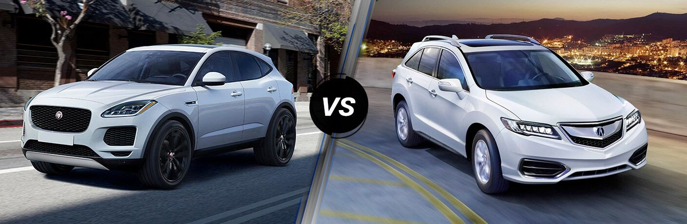 White 2018 Jaguar E-PACE on a City Street vs White 2018 Acura RDX on a Highway