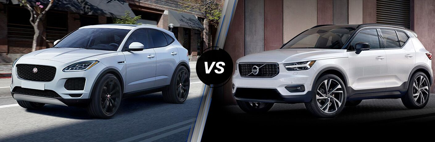 White 2018 Jaguar E-PACE on a City Street vs 2019 Volvo XC40 in a Driveway