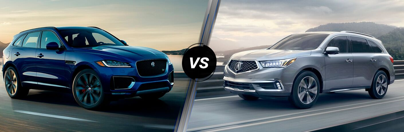 Blue 2018 Jaguar F-PACE on a Coast Road vs Silver 2018 Acura MDX on a Highway