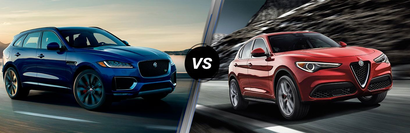 Blue 2018 Jaguar F-PACE on a Coast Road vs Red 2018 Alfa Romeo Stelvio on a Highway