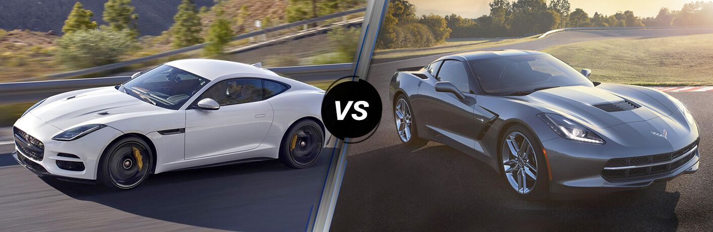 White 2018 Jaguar F-TYPE on Country Road vs Gray 2018 Chevy Corvette on a Track
