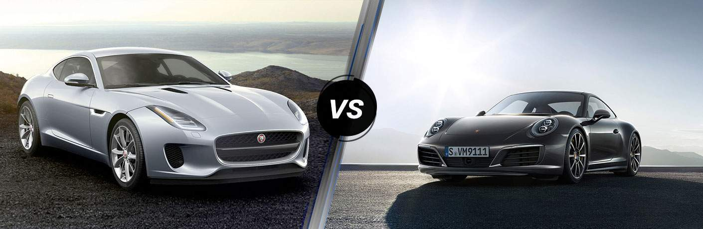 Silver 2018 Jaguar F-TYPE on Coastal Overlook vs Black 2018 Porsche 911 in a Driveway