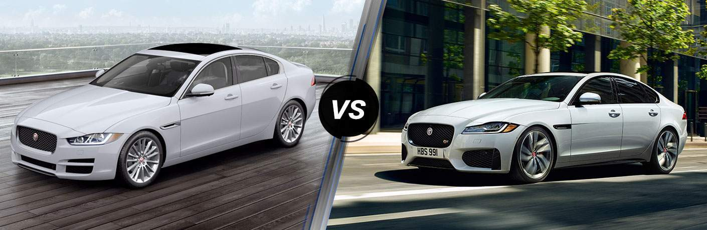 White 2018 Jaguar XE in Parking Structure vs White 2018 Jaguar XF on City Street