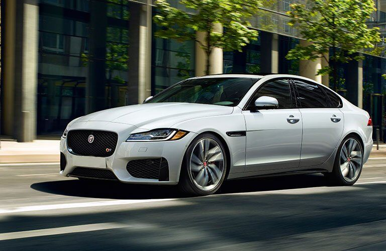 White 2018 Jaguar XF Exterior on City Street