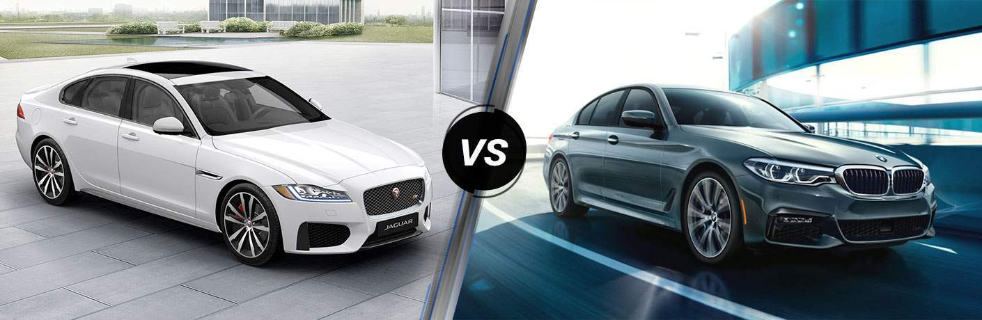 White 2018 Jaguar XF in Driveway vs Silver 2018 BMW 5 Series on City Street