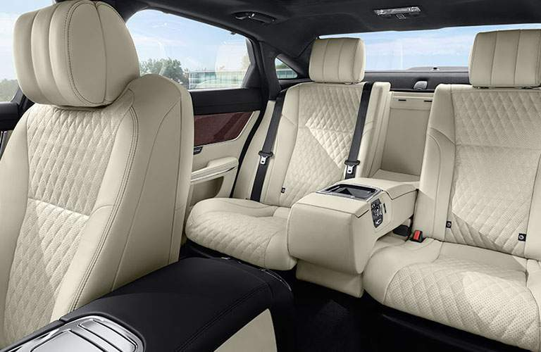 Tan 2018 Jaguar XJ Quilted Leather Interior in Front and Rear Seats