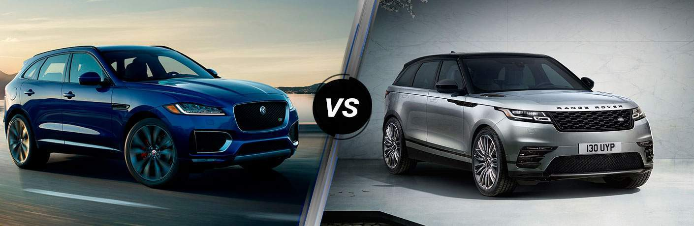 Blue 2018 Jaguar F-PACE on Highway vs Silver 2018 Range Rover Velar on Gray Background