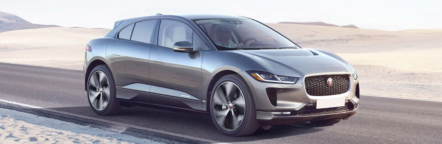 Gray 2019 Jaguar I-PACE on Desert Highway