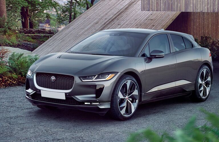 Gray 2019 Jaguar I-PACE Front Exterior in a Driveway