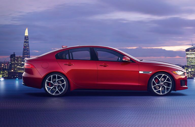 Red 2018 jaguar XE Side Exterior