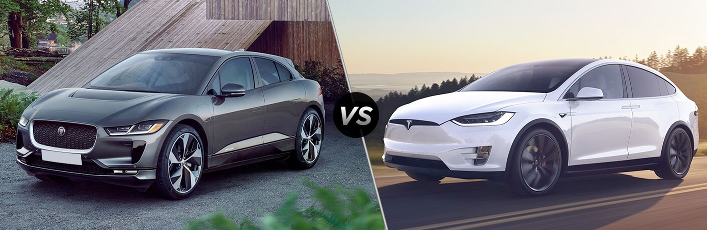 Gray 2019 Jaguar I-PACE in Driveway vs White 2018 Tesla Model X on a Highway