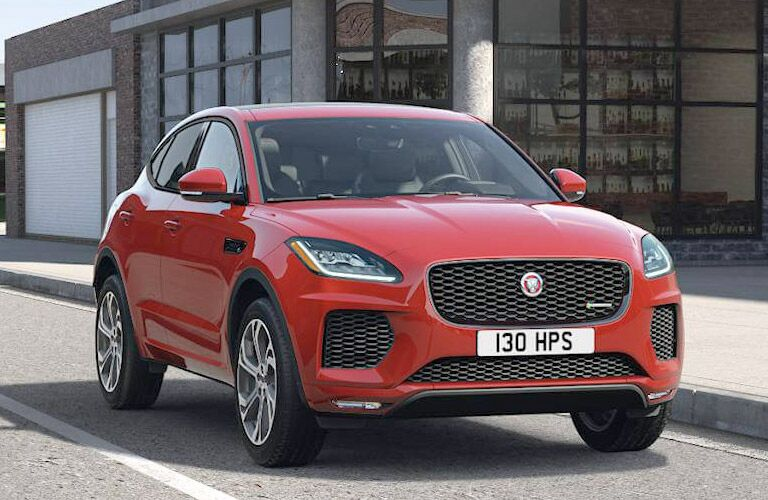 Red 2019 Jaguar E-PACE Front Exterior on a City Street
