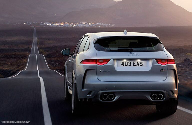 Silver 2019 Jaguar F-PACE Rear Exterior on Country Road
