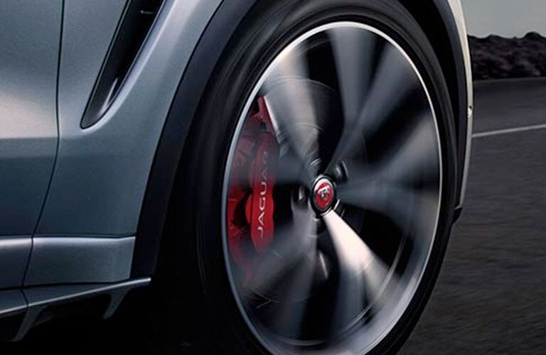 Close Up of 2019 Jaguar F-PACE SVR Wheels with Red Brake Calipers