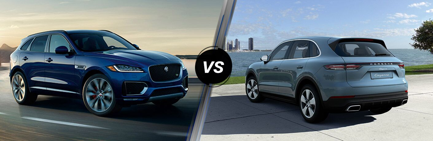Blue 2019 Jaguar F-PACE on a Coast Road vs Gray 2019 Porsche Cayenne Rear Exterior Next to Water