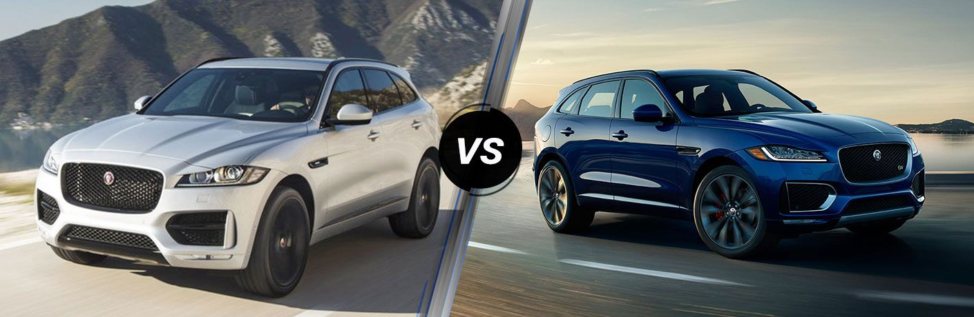 Silver 2019 Jaguar F-PACE on a Mountain Road vs Blue 2018 Jaguar F-PACE on a Coast Road