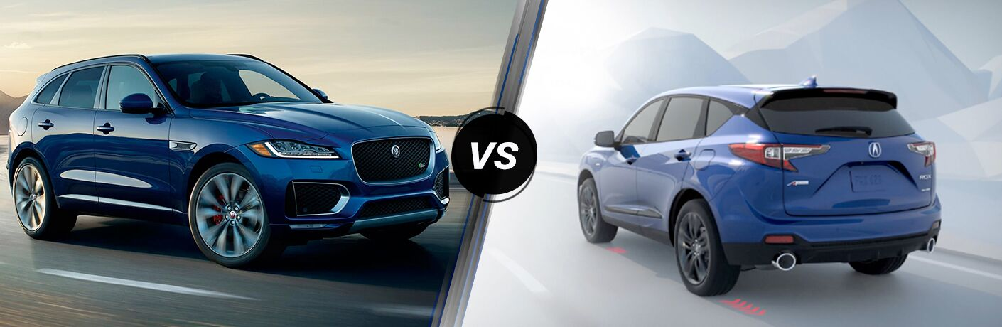 Blue 2019 Jaguar F-PACE on a Coast Road vs Blue 2019 Acura RDX Rear Exterior