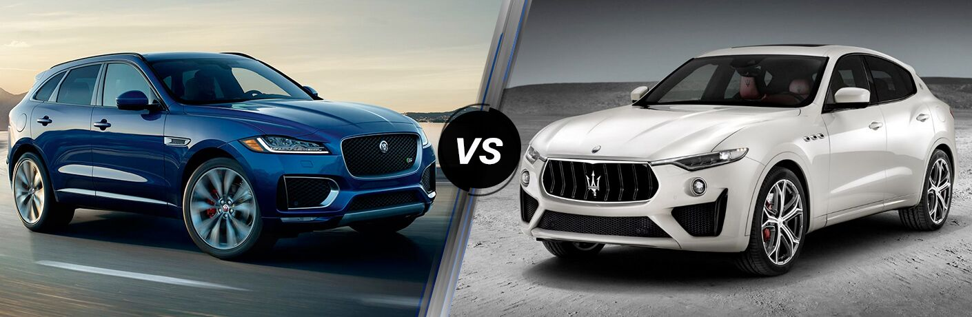 Blue 2019 Jaguar F-PACE on a Coast Road vs a White 2019 Maserati Levante on a Gray Background