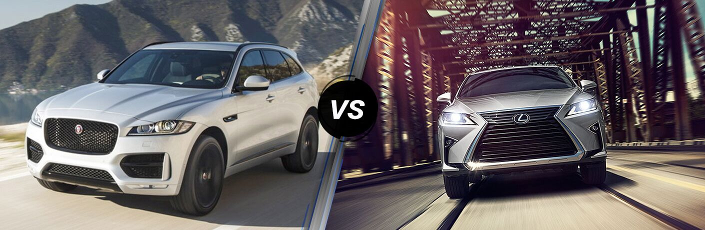 Silver 2019 Jaguar F-PACE on a Coast Road vs Silver 2019 Lexus RX on a Bridge