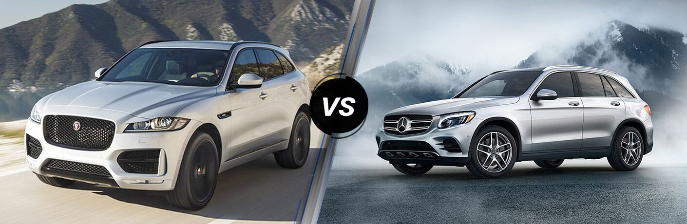 Silver 2019 Jaguar F-PACE on a Coast Road vs Silver 2019 Mercedes-Benz GLC in Front of Mountains