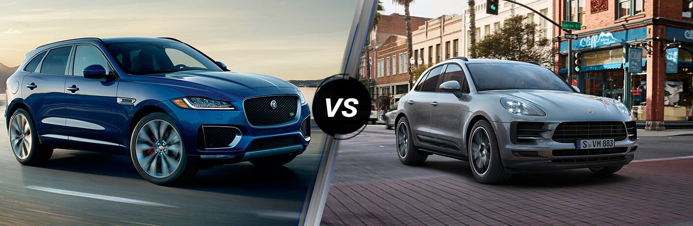 Blue 2019 Jaguar F-PACE on Coast Road vs Gray 2019 Porsche Macan on a City Street