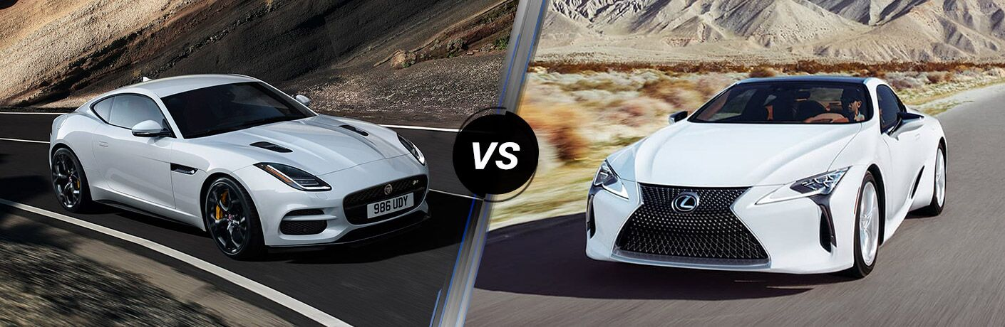 White 2019 Jaguar F-TYPE on Desert Highway vs White 2019 Lexus LC on a Desert Road