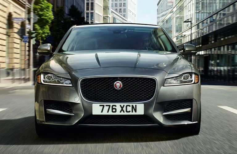 Gray 2019 Jaguar XF Front Grille Exterior on a City Street