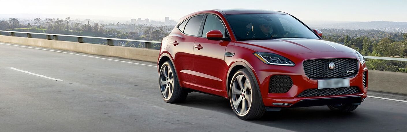 Red 2020 Jaguar E-PACE Checkered Flag Edition on Highway