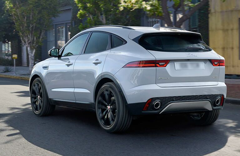 White 2020 Jaguar E-PACE Rear Exterior on a City Street