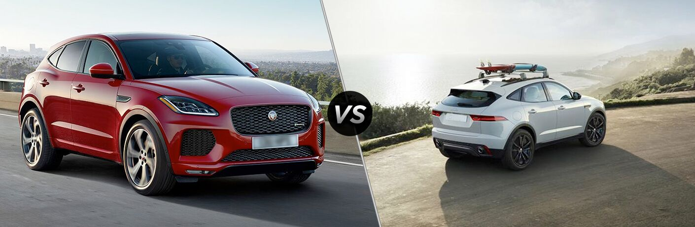 Red 2020 Jaguar E-PACE Checkered Flag Edition on Highway vs White 2019 Jaguar E-PACE Rear Exterior on Coastal Road