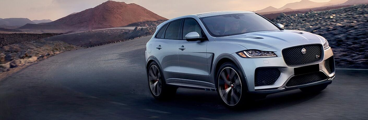 Silver 2020 Jaguar F-PACE on Desert Highway