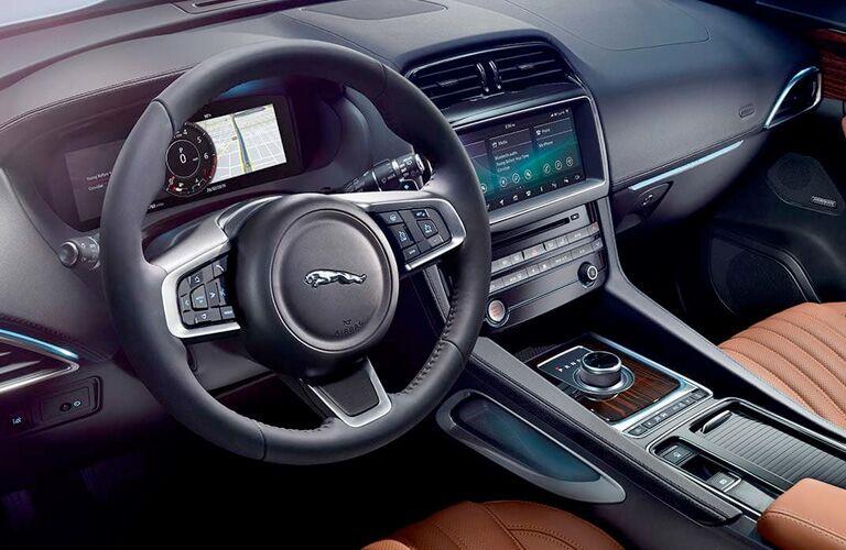 2020 Jaguar F-PACE wheel and center console