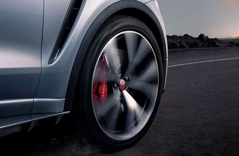 2020 Jaguar F-PACE close up of front wheel moving