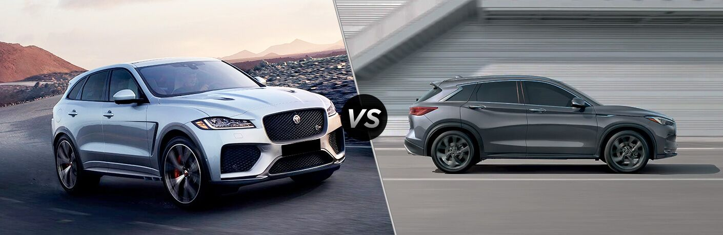 White 2020 Jaguar F-PACE on a Desert Highway vs Gray 2019 Infiniti QX50 on a Freeway