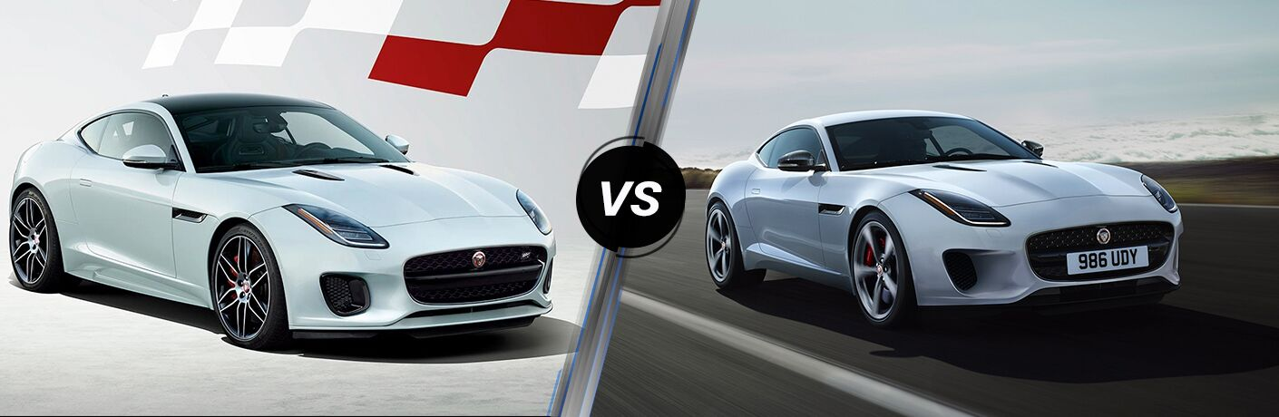 White 2020 Jaguar F-TYPE Checkered Flag Limited Edition on a White Background vs White 2019 Jaguar F-TYPE on a Highway