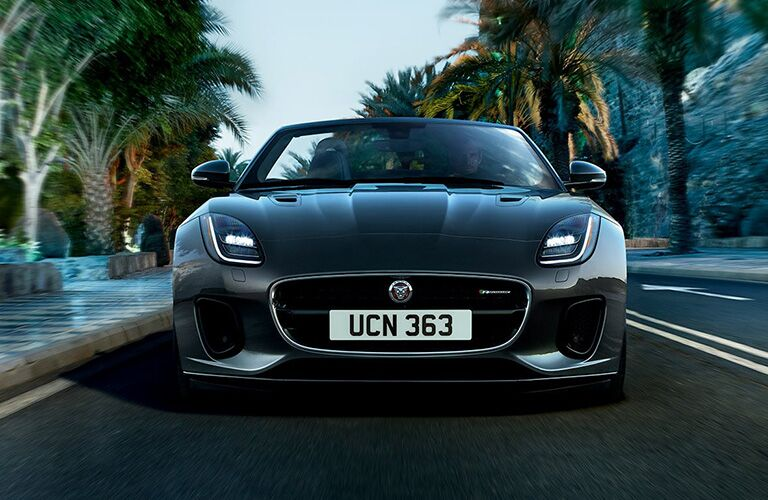 Black 2020 Jaguar F-TYPE Convertible Front on a City Street