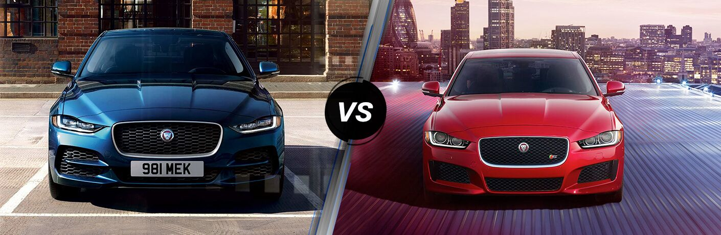 Blue 2020 Jaguar XE Front Exterior in a Parking Lot vs Red 2019 Jaguar XE Front Exterior in a Parking Structure