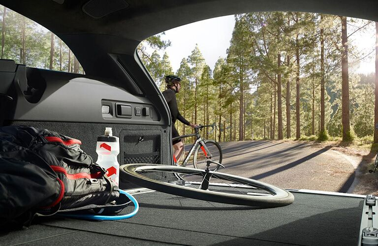 2020 Jaguar XF Sportbrake Rear Cargo Space with a Bike