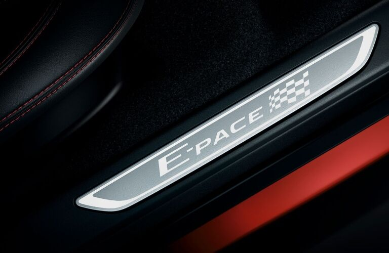 2020 Jaguar E-PACE Checkered Flag Edition badge on the frame of the door