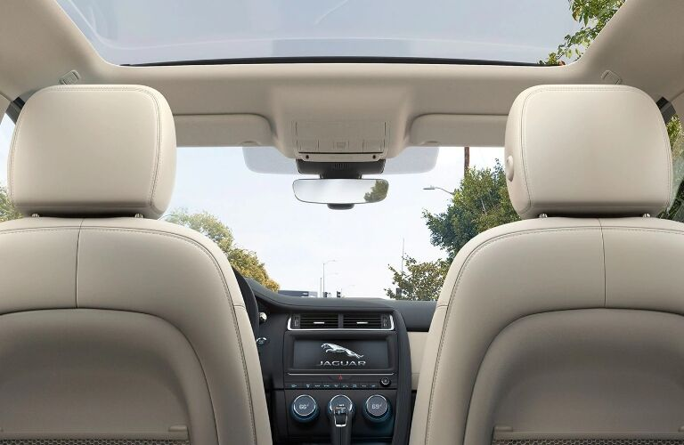 2020 Jaguar E-PACE view of front seats from back seat