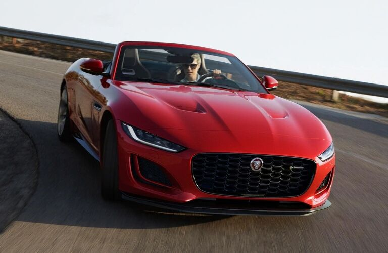 2021 Jaguar F-TYPE going around a curve