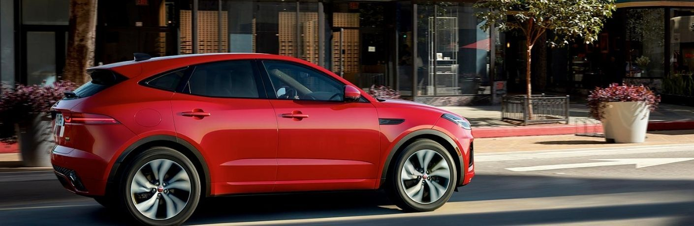A red 2022 Jaguar E-Pace parked on the street.