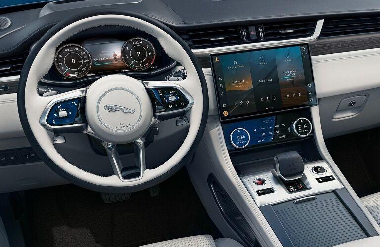 2021 Jaguar F-PACE behind the wheel