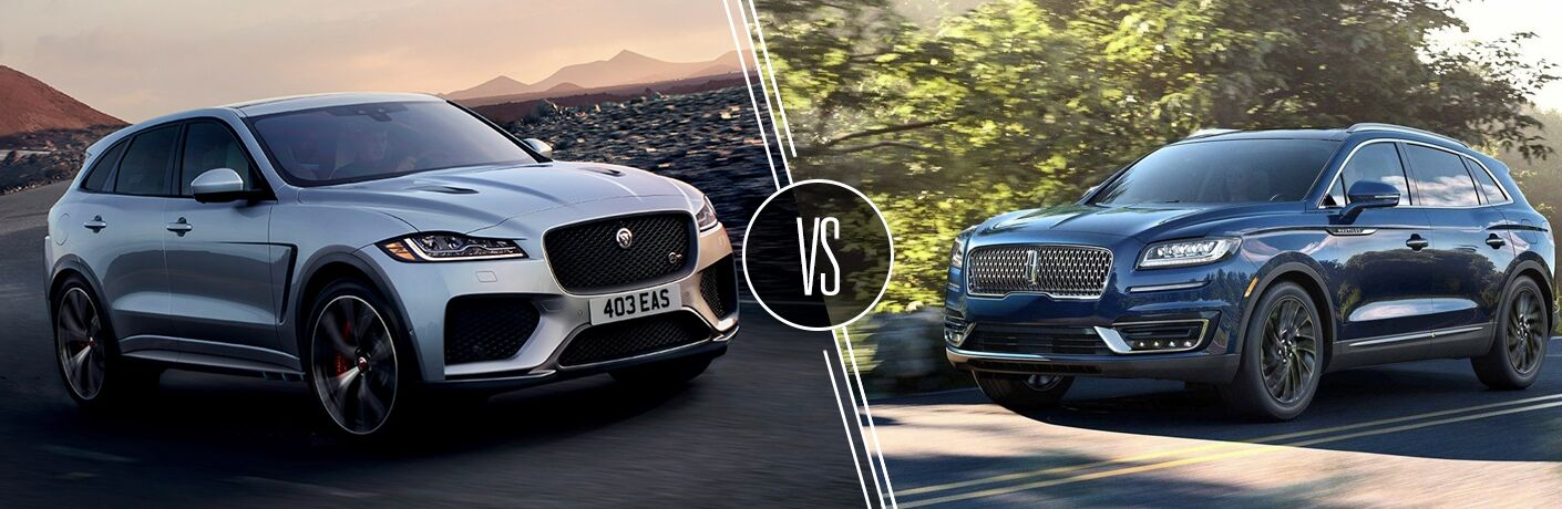 Silver 2019 Jaguar F-PACE on a Highway vs Blue 2019 Lincoln Nautilus on a Country Road