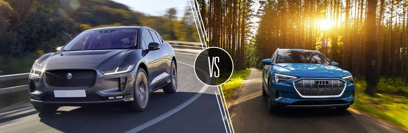 Gray 2019 Jaguar I-PACE on a Freeway vs Blue 2019 Audi e-tron on a Country Road